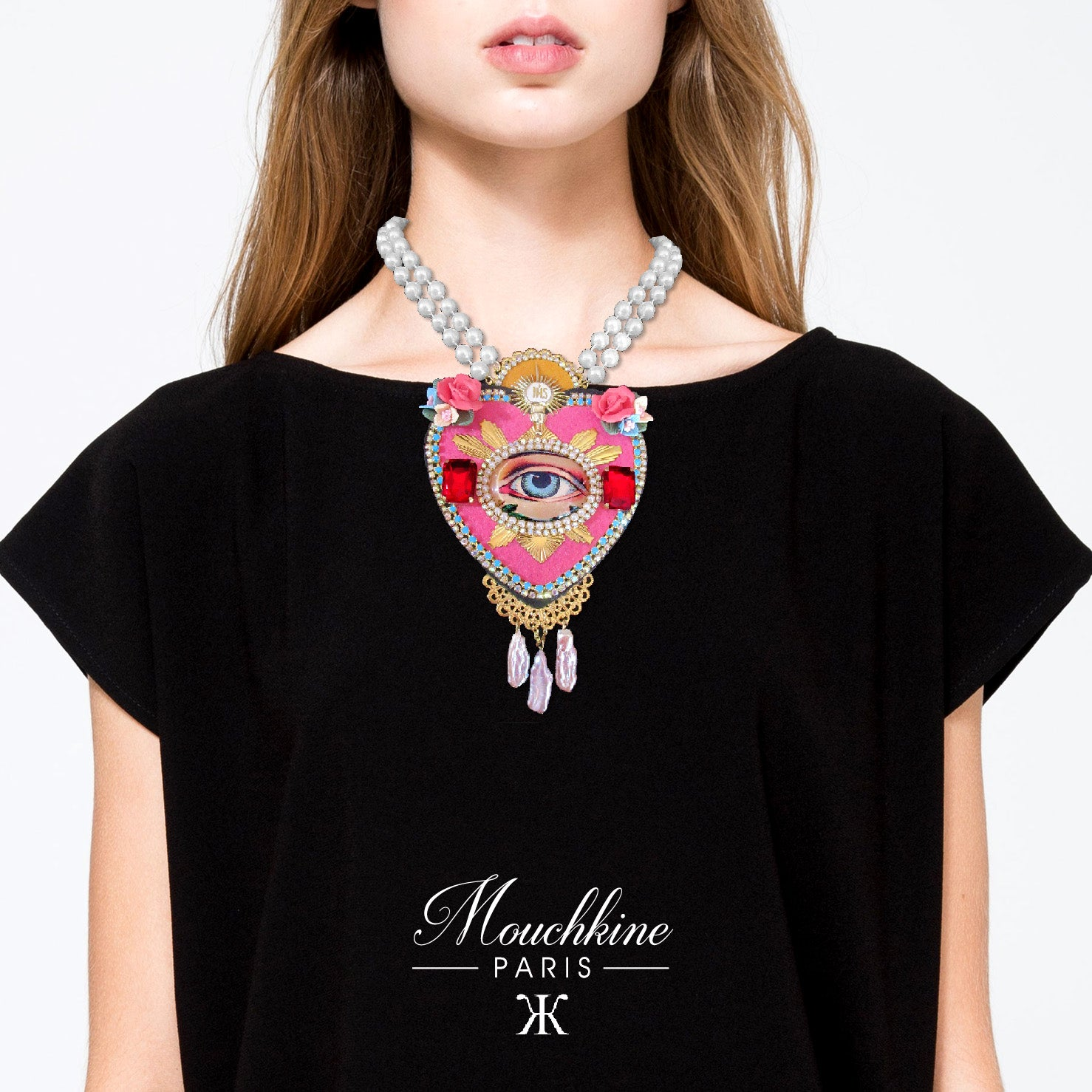 mouchkine jewelry handmade luxury statement pink heart necklace