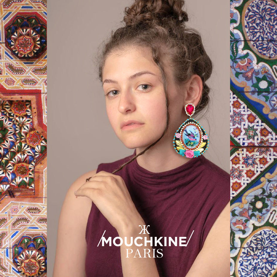 mouchkine jewelry birds statement chic earrings made in france