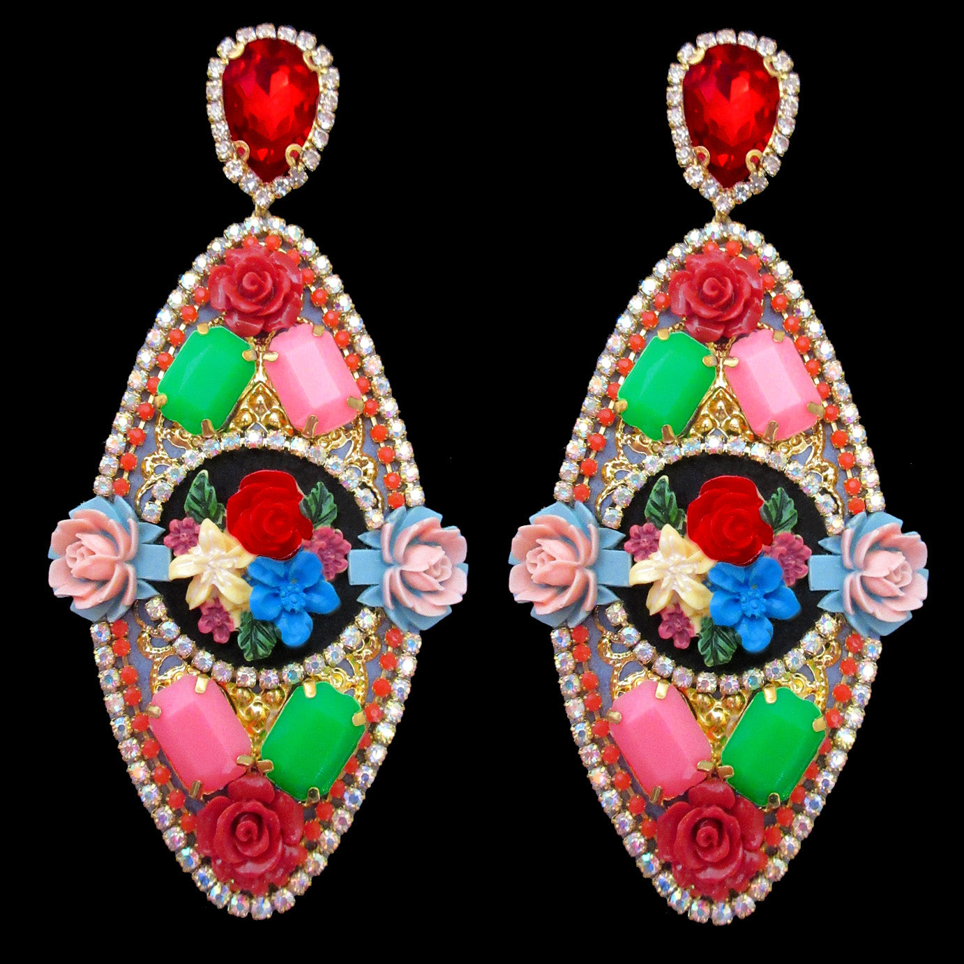 Mouchkine Jewelry haute couture floral pendant earrings. Ultra chic and trendy jewel made in france.