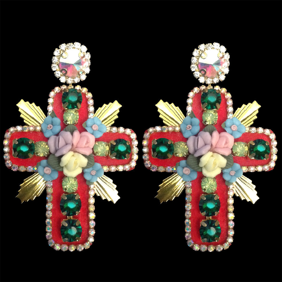 mouchkine jewelry stunning couture earrings handmade in France with a Red cross shapes