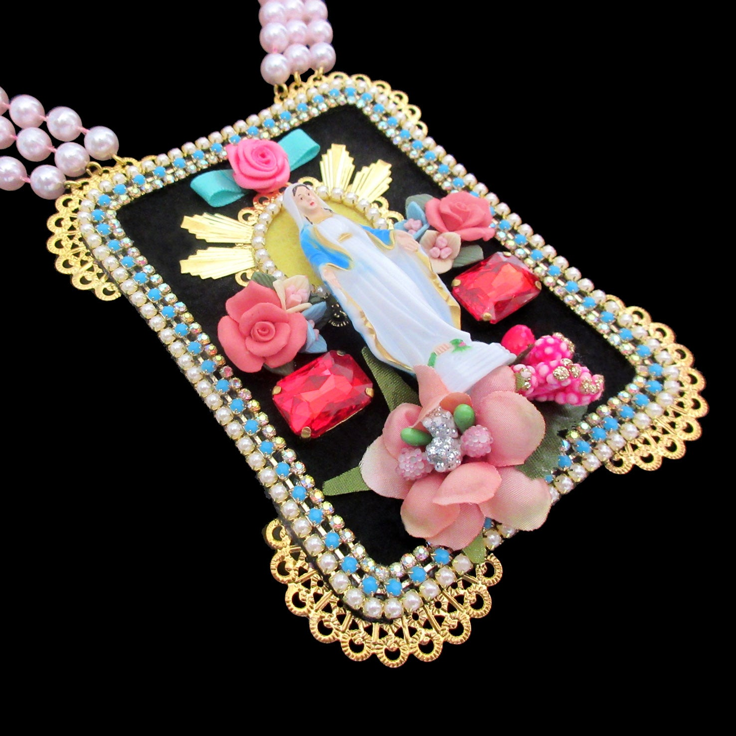 mouchkine jewelry handmade couture madonna iconic statement necklace.