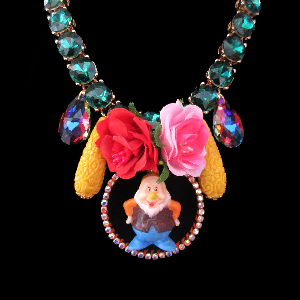 mouchkine jewelry handmade luxury unique pieces dwarf necklace with rhinestones and flowers