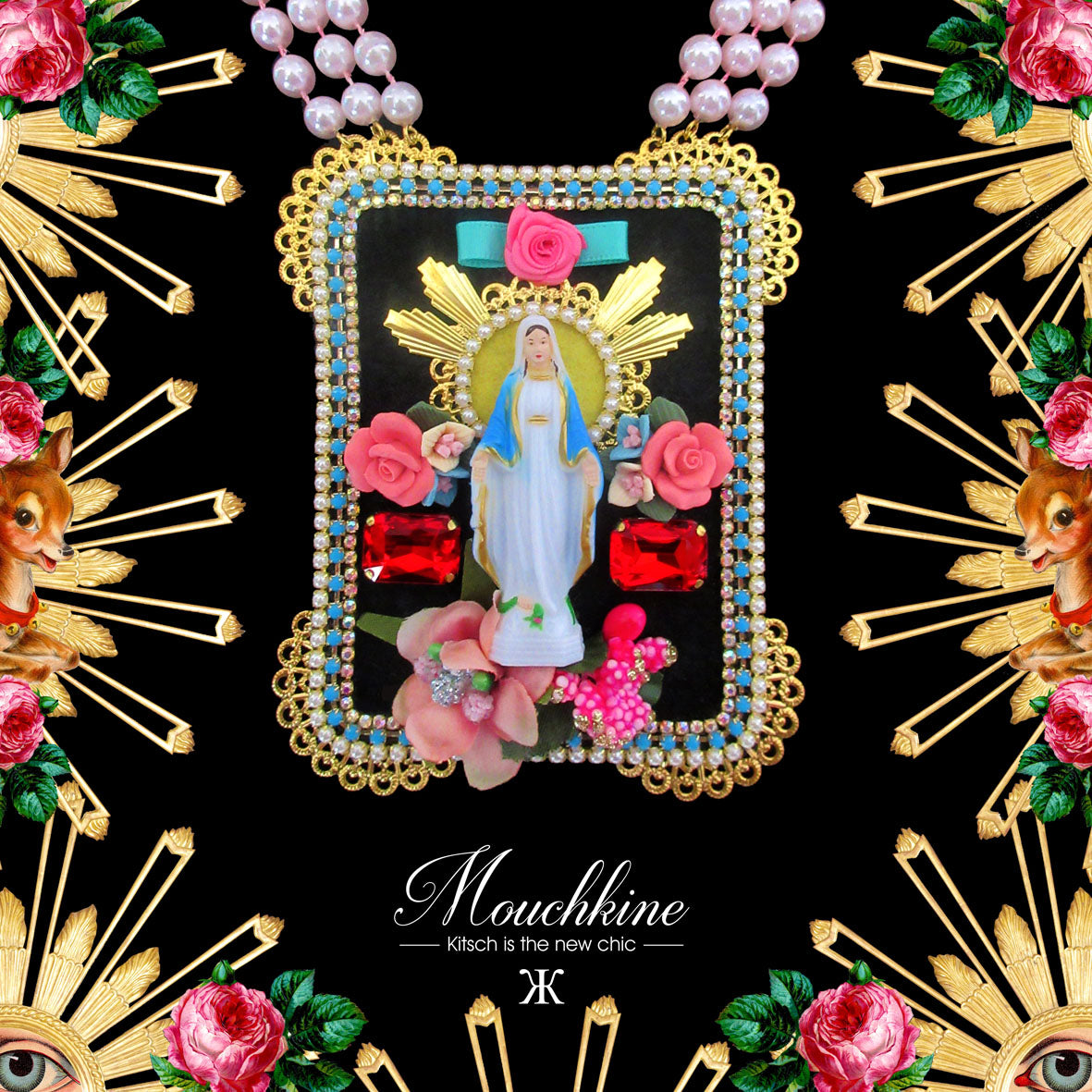 mouchkine jewelry handmade couture kitsch and trendy madonna necklace.