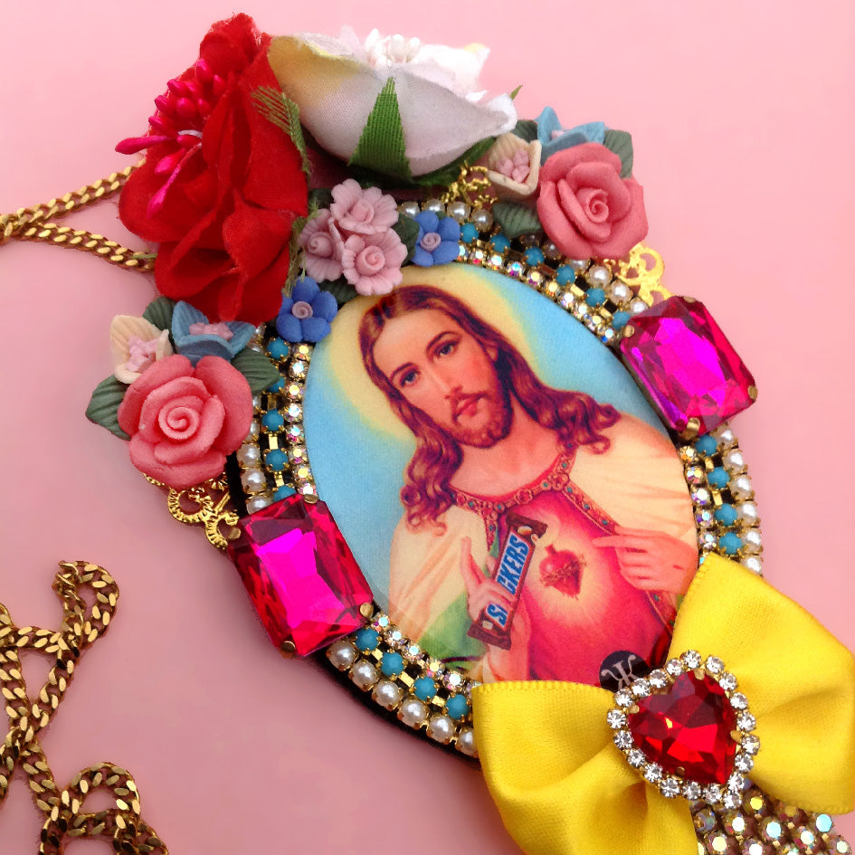 mouchkine jewelry pop art jesus kitsch and chic colorful necklace