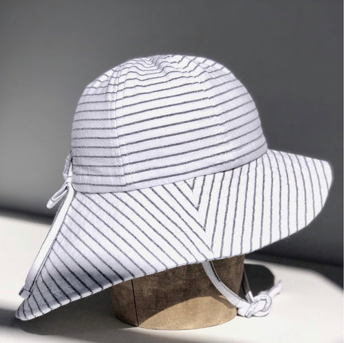 Floppy Hat - White Grey Stripe