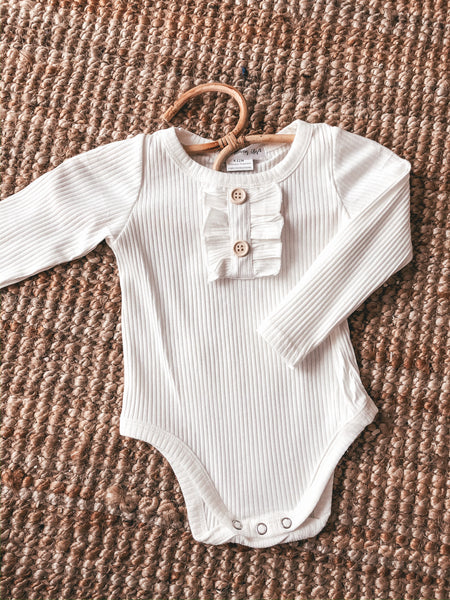 Ribbed Romper Cream