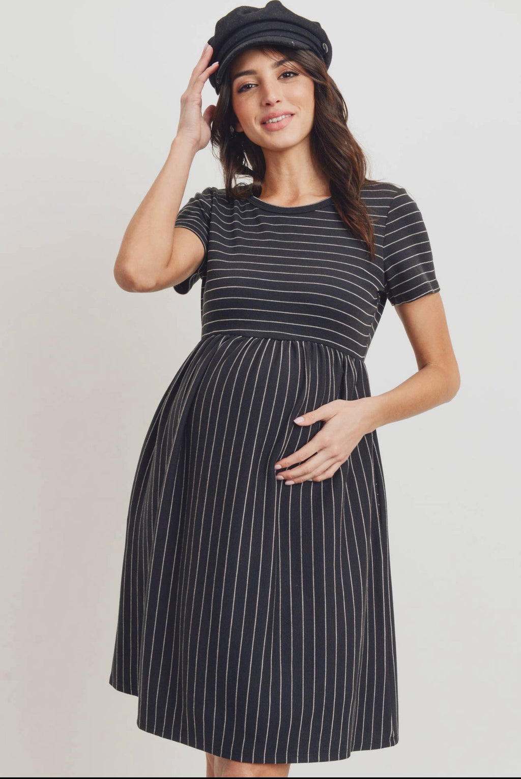 Short Sleeve Stripe With  Pockets Maternity Dress