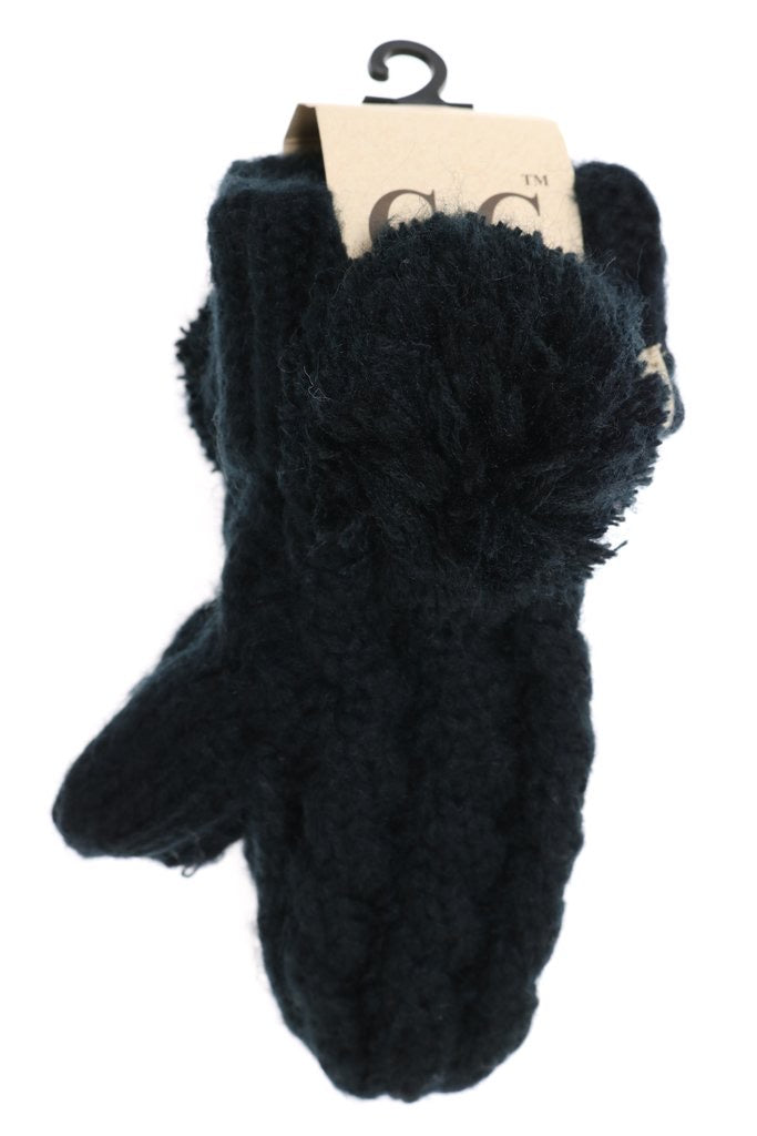 Kids CC Solid Pom Fuzzy Lined Mittens - Black