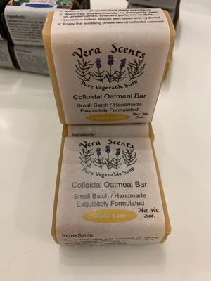 Vera Scents Speciality Bars - Orange & Mild Mint - Colloidal Oatmeal Bar