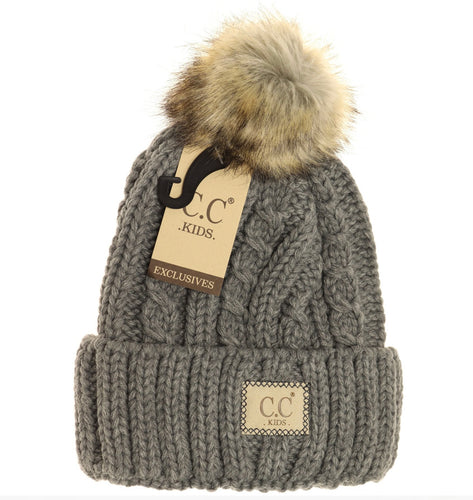 Kids Cable Knit Ribbed Fur Pom Beanie - Lt Melange Grey