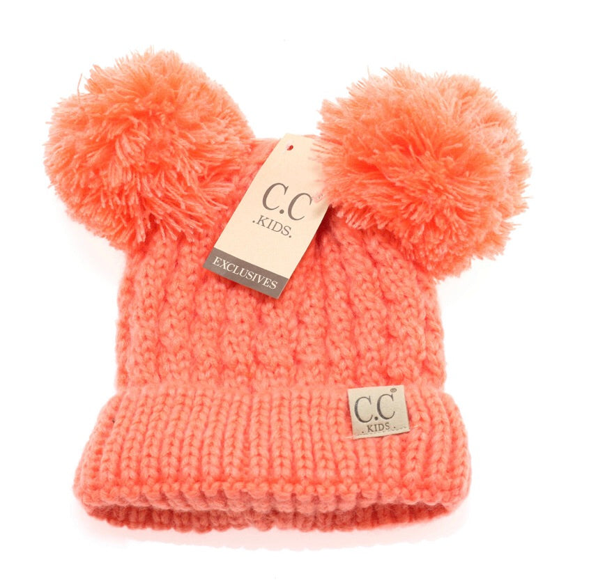 Solid Double Pom Beanie - Coral