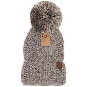 Adult Multi Color Feather Knit Pom CC Beanie - Lt Grey
