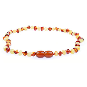 Amber Teething Necklace - Polished Milk and Cognac Mix Baltic Amber