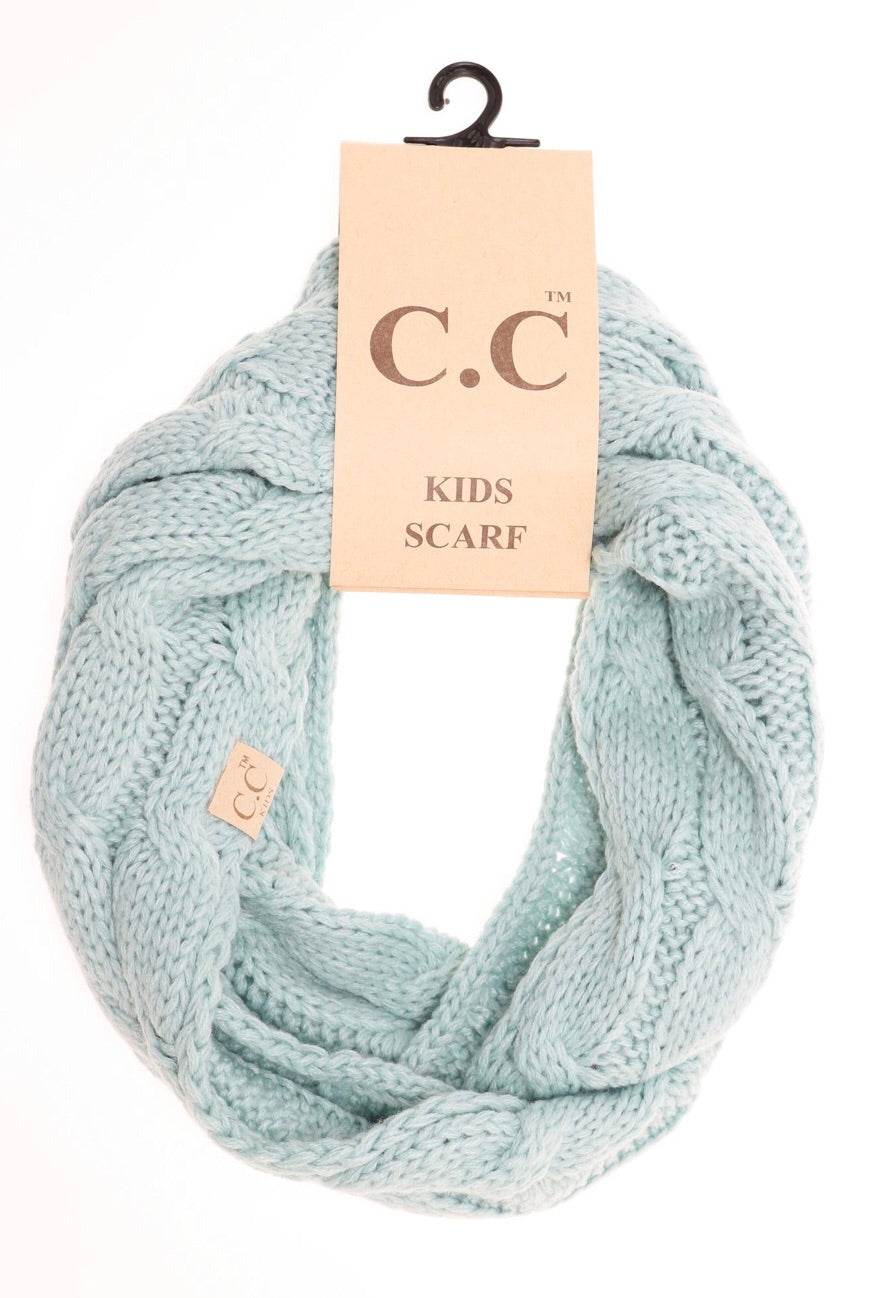 Solid Cable Knit Infinity Scarf - Mint