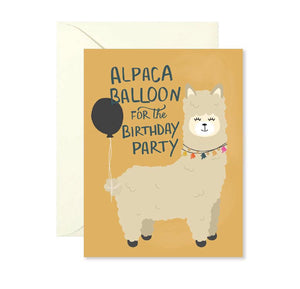Birthday Card - Alpaca Balloon