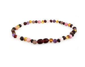 Amber Teething Necklace - Smoky/Rose Quartz, Amethyst Baltic Amber