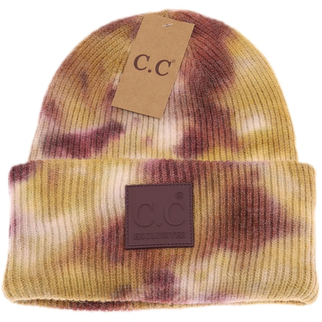 Adult Tie Dye with Rubber Patch CC Beanie - Antique Moss/Wild Ginger