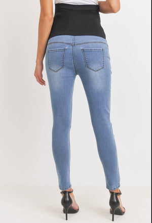 Maternity Stretch Skinny Denim Jeans with Belly Band