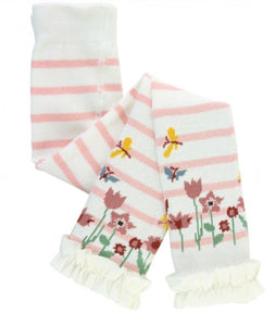 Floral Footless Ruffle Tights - Ballet Pink & Ivory Stripe