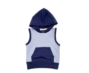 Sleeveless Hoodie- Ash Blue And Navy