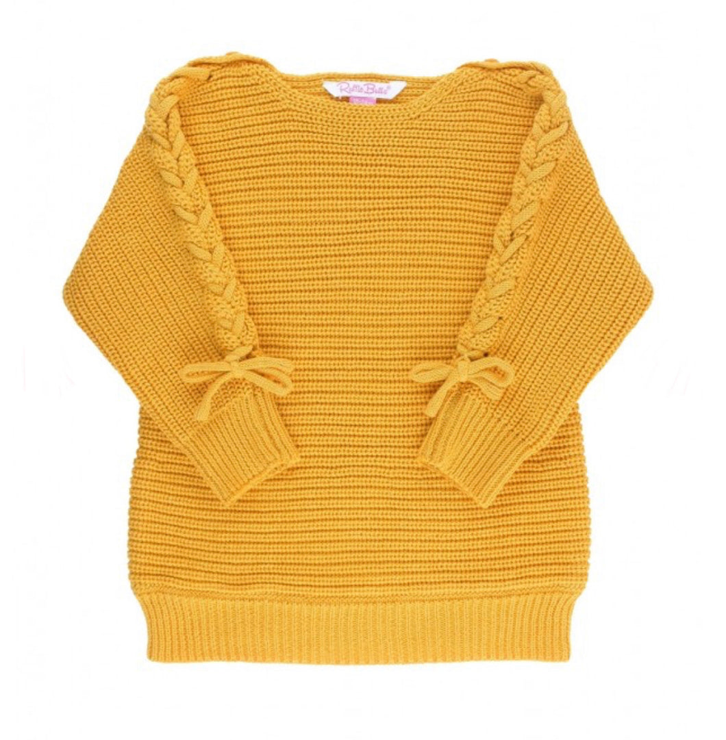 Golden Yellow Lace-Up Sweater Tunic