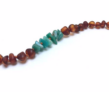 Raw Baltic Amber + Raw Green Amazonite Stones Bracelet - Cognac