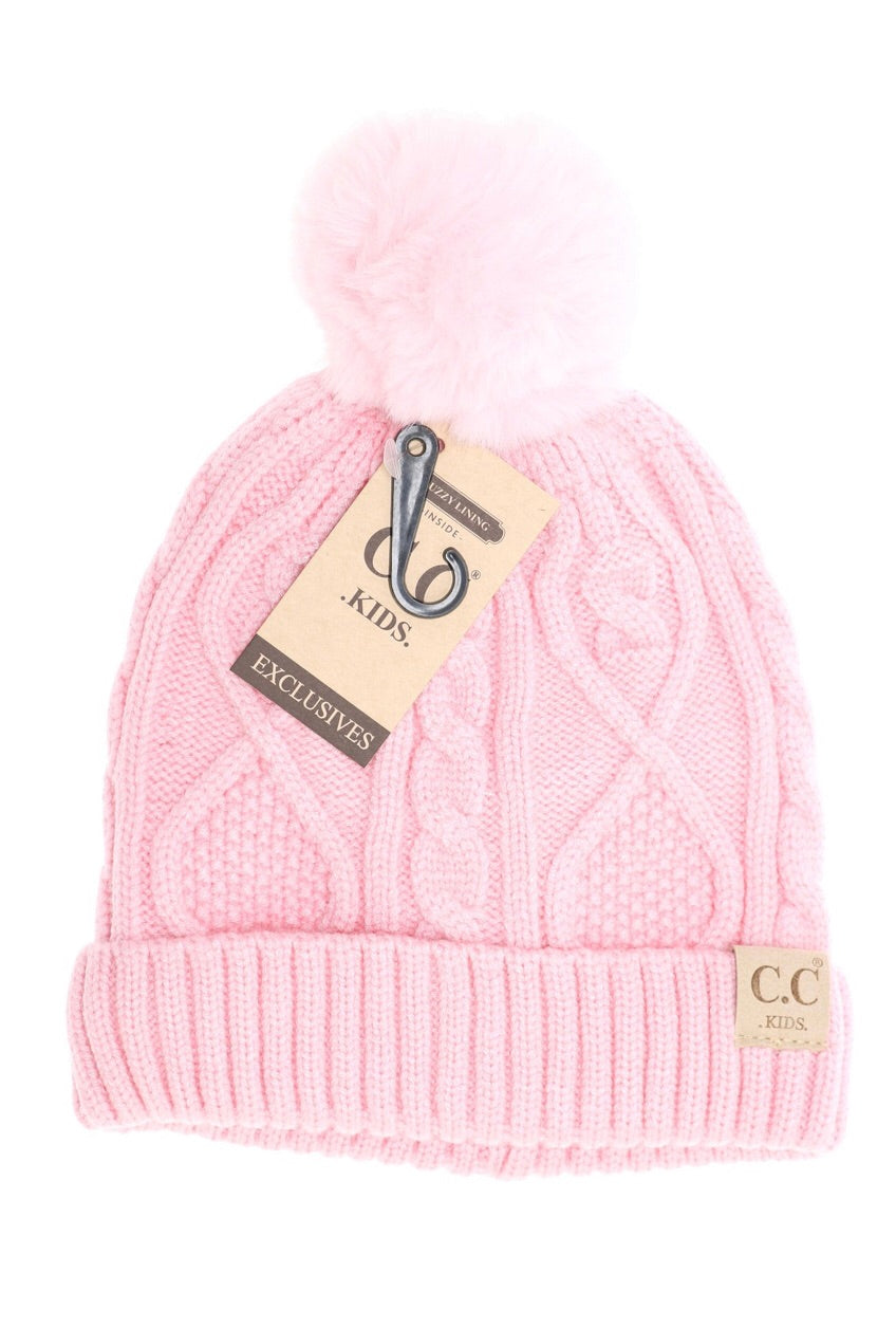 Solid Fuzzy Lined Fur Pompom Beanie - Pale Pink