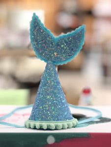 Handmade Felt and Glitter Mermaid Tail Birthday Crown - Blue/Mint/White