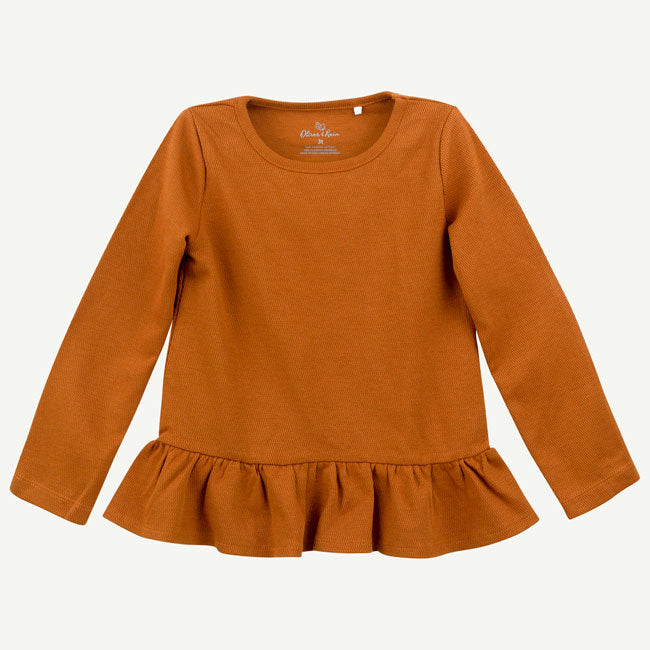 Ruffle Long Sleeve Top - Almond