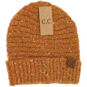 Adult Confetti Boucle Knit Cuff CC Beanie - Golden Camel
