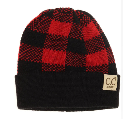 Baby Buffalo Plaid Cuff Beanie - Black/Red