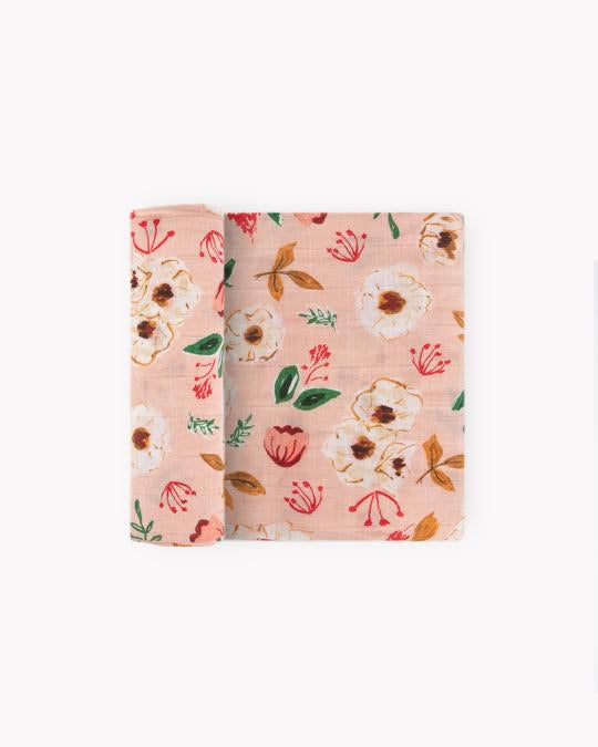 Cotton Muslin Swaddle - Vintage Floral
