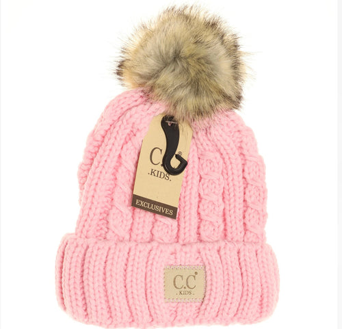 Kids Cable Knit Ribbed Fur Pom Beanie - Pale Pink