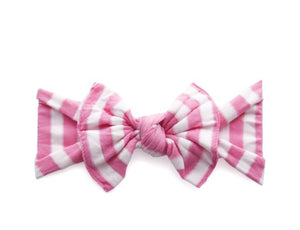 Decorative Bow - Pink & White Stripes