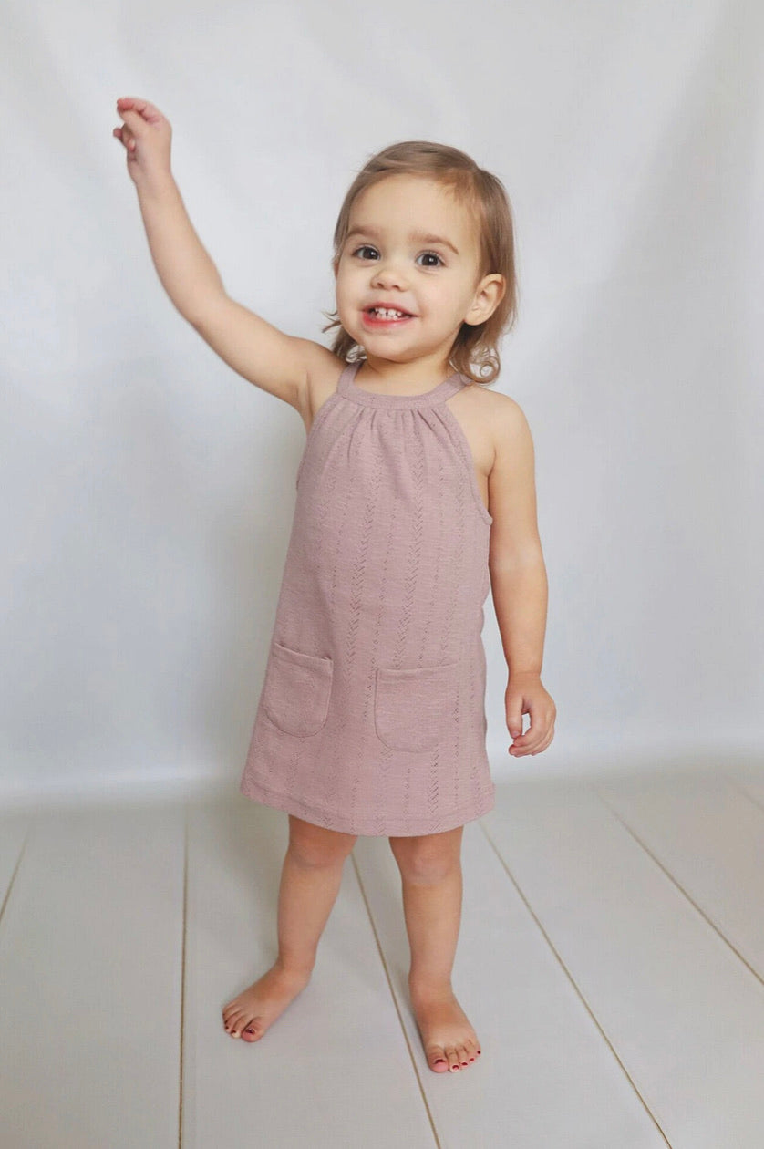 L'ovedbaby Organic Pointelle Halter Dress - Thistle