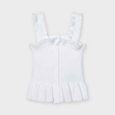 Ribbed Knit Ruffle Top - White