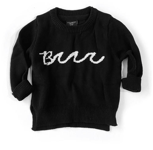 "Knit Sweater - Black ""Brr"""