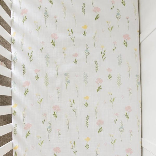 Cotton Muslin Crib Sheet - Floral Fields