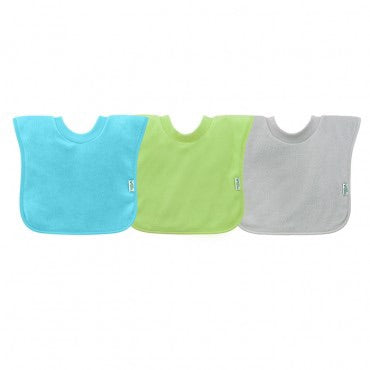 Pull-Over Stay-Dry Bibs 3pk - Teal/Green/Grey