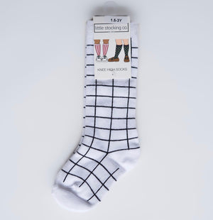 Knee High Socks - White + Black Grid
