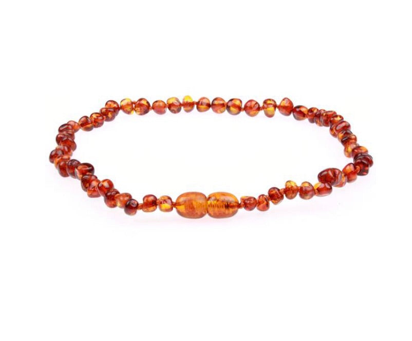 Amber Teething Necklace - Polished Cognac Baltic Amber