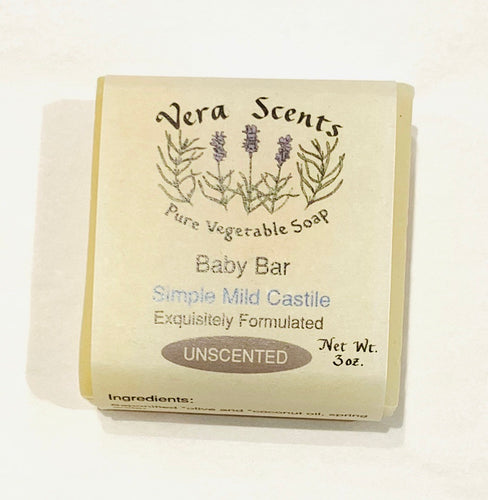 Vera Scents Speciality Bars - Unscented - Baby Bar Simple Mild Castile