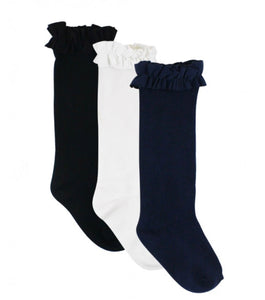 3-Pack Knee High Socks - White, Navy, Black