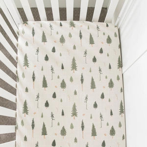 Cotton Muslin Crib Sheet - Pine