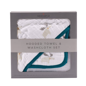 Mister Moose Hooded Towel and Washcloth Set