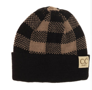 Baby Buffalo Plaid Cuff Beanie - Black/Taupe