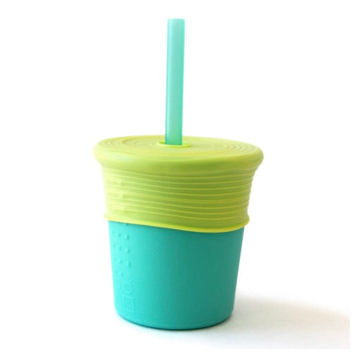 8 oz Silicone Straw Cup - Sea/Lime