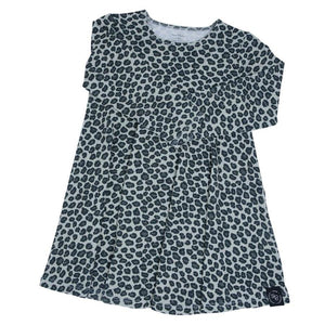 Swirly Girl Dress - Leopard Grey