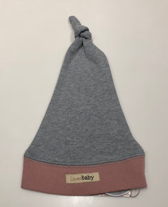 Organic Knotted Cap - Mauve/Heather Gray