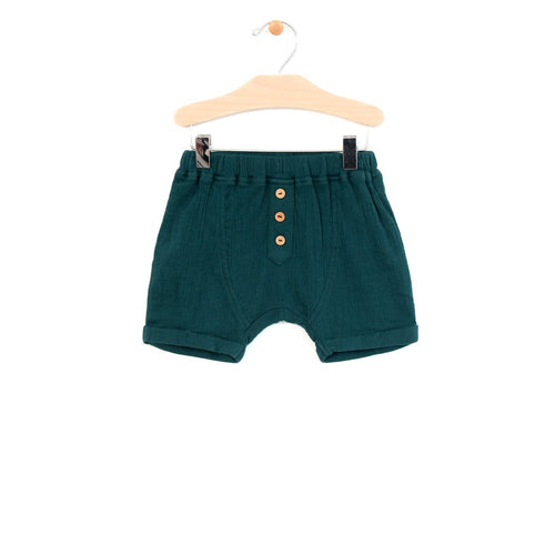 Crinkle Cotton Boy Short - Pine